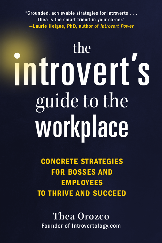 "Cover image of book - dark background with white letters saying ""Introvert's Guide to the Workplace"""
